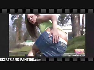 Flashing my cute little panties makes me so hot