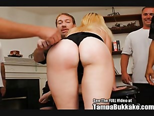 Blonde milf skank slut bukkake blow bang!