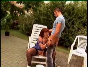 Picture Granny In Glasses And Stockings Outdoor Shav...