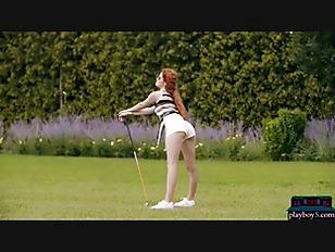 Big ass MILF redhead beauty babe Heidi Romanova plays golf naked