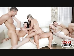 3 white chick group fuck on couch
