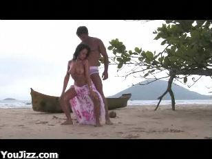 Busty Beach Babe Karina...