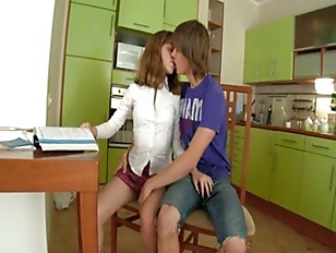 Picture Young 19y. Girls Sexing On The Kitchen Table