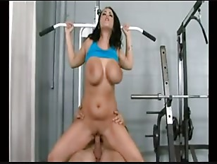 brunette busty lady get fuck in gym