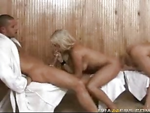 Picture Carmel And Bridgette Double Sauna Blowjob
