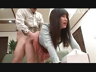 asian young chick doggystyle on green sofa