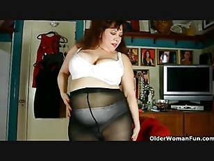 Sprayed face chubby in nylons with