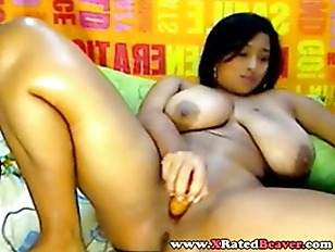 BBW shaved Latina with dildo