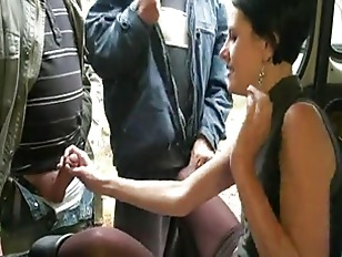 Sophie gets group fucked outdoors