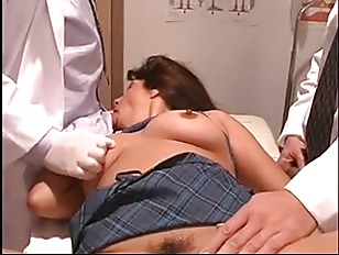 Sexy patient receives her wet crack and a hole checked by hung doctors