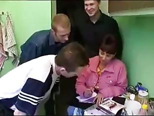 Russian milf gangbang 3 dicks