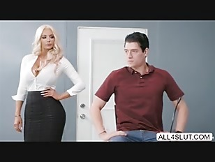 Big tits blonde Nicolette Shea gets wet pussy fucked by huge dick in the table