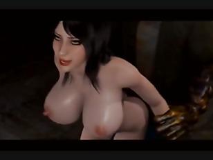 big boob chick 3D cartoon