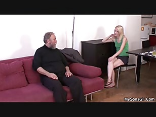 Bearded old man punish blonde girl