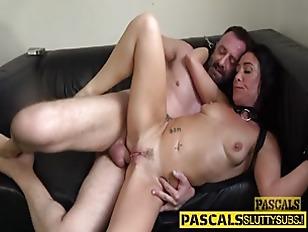 Restrained slut sucking