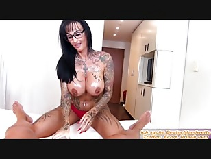 German big tits tattoo milf make oil worshop POV with glasses secretary