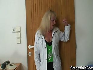 Blonde Grandma In Black...