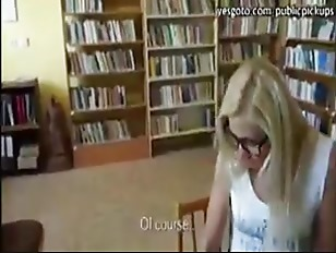 Super hot Euro babe gets talked into public anal sex in the library