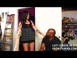 Hot babe gets fucked by her black stepdad