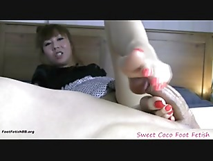 Red pedicure footjob...