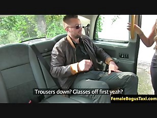 image Busty british cabbie cockriding her client
