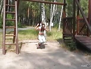 Brunette teen Outdoor Sucking...