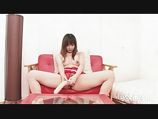 Asian brunette toying on...