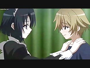 Anime maid gets sperm on her ass