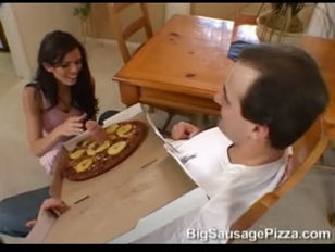 Picture Big Sausage Pizza Shy Love Brunette Pink Ski...