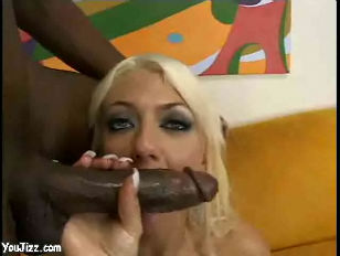 Picture Blonde Hottie Bends Over For Giant Black Coc