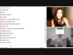 Hot girl sees a big cock on omegle  gets horny and starts to masturbate.