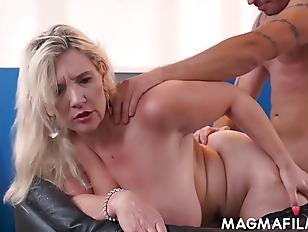 Big boobed boss fucks her employee