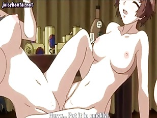 Anime lesbians enjoy a double dildo