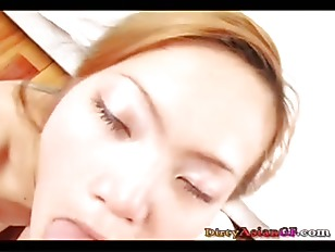 nasty asian pov - Nasty Asian chick gobbles on cock like mad
