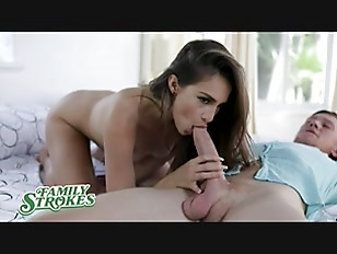FamilyStrokes Hot Brunette Helps Her Stepbrother With His Boner