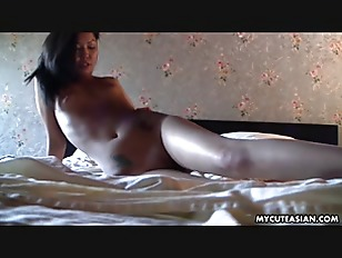 Beautiful and cute brunette rubbing her wet pussy pie