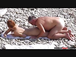 Naked wife fucked hard on voyeur beach
