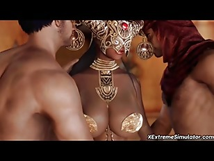 3D ebony princess threesome sex