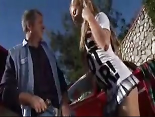 Amazingly hot blonde teen fucked beside a car