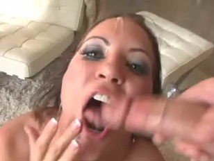 Hot brunette fucked by two hard cocks