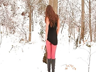 Picture Red Nylon Pantyhose In Winter Forest