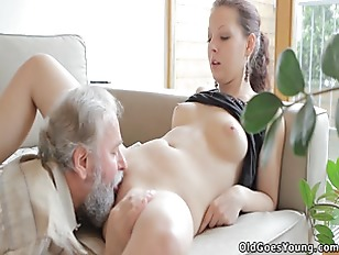 Beautiful girl gets fucked by a horny old man her boyfriend comes and watches