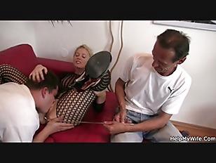 Blonde In Fishnets Cuckolds...