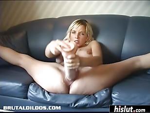 Big toys make the blonde happy