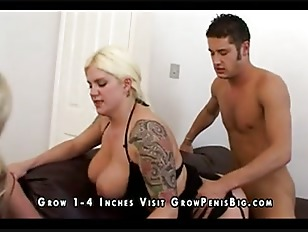 Busty fat blonde babe shares her mans cock