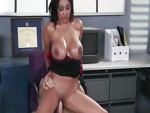 Office whore gets cum on her big tits