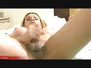 Pretty face doll with balls strokes messy cock till cumshot