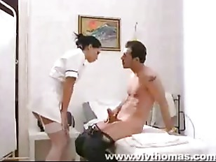 Busty brunette doctor gives a bodycheck