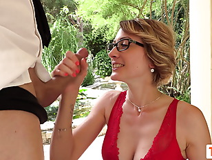 French Secretary Tania fucked in the garden with no mercy