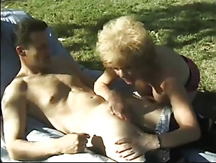 Granny getting fucked outdoors